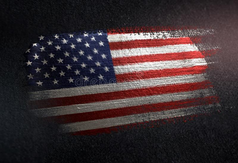 美利坚合众国旗子由金属刷子油漆制成在Gr 免版税图库摄影