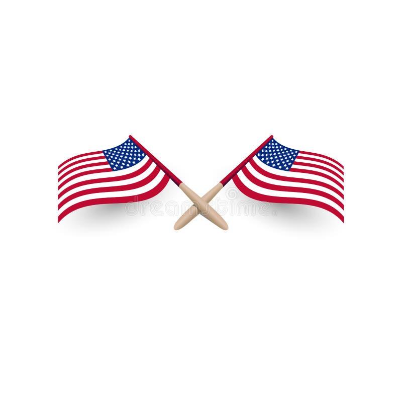 美利坚合众国有风挥动的旗子横渡了与阴影3d传染媒介例证eps10的模板在白色背景 向量例证