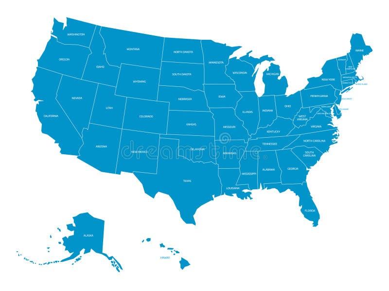 美利坚合众国的地图有状态名字的 在白色背景的被简化的深灰剪影传染媒介地图 库存例证