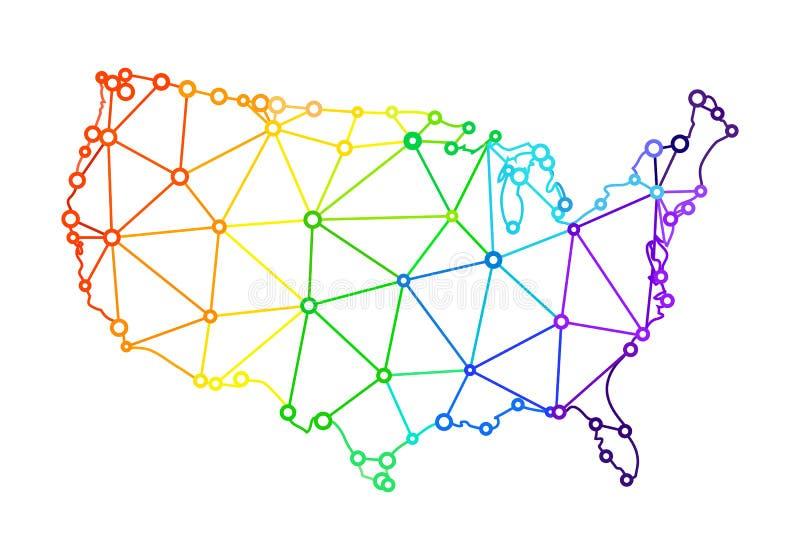 以美利坚合众国的地图的形式LGBT旗子 向量例证