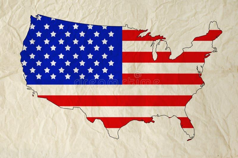 美利坚合众国的旗子在美国映射与老纸 库存照片