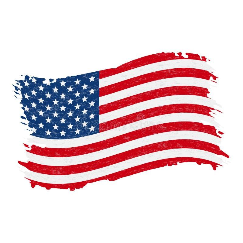 美利坚合众国的旗子,难看的东西摘要在白色背景隔绝的刷子冲程 也corel凹道例证向量 皇族释放例证