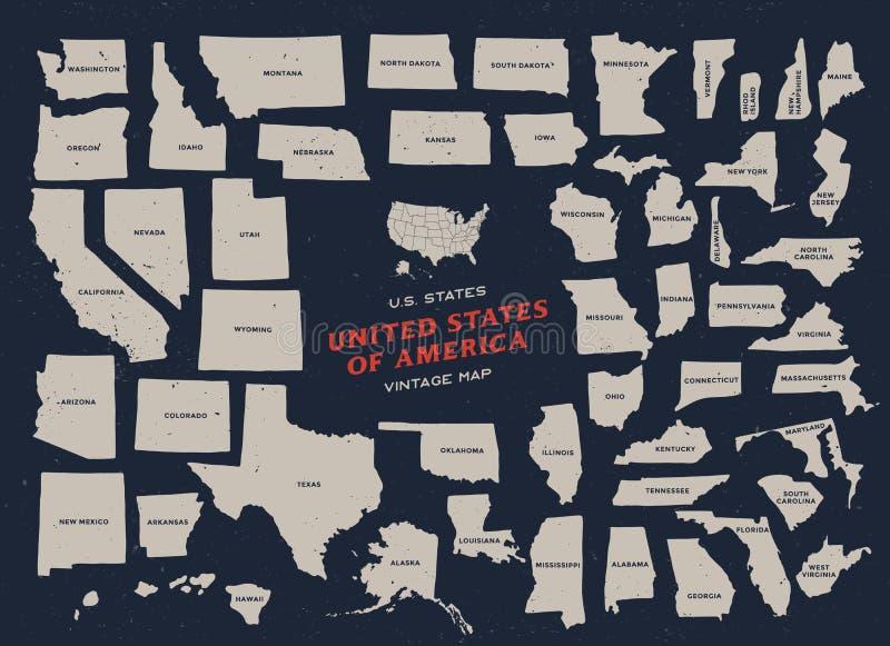 美利坚合众国的葡萄酒地图 皇族释放例证