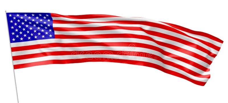 美利坚合众国的长的旗子有旗杆的 向量例证