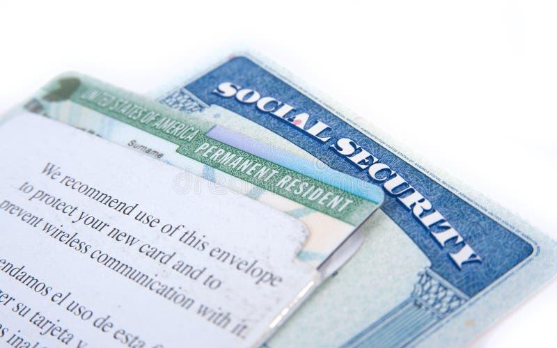 美利坚合众国社会保险和绿卡 库存照片