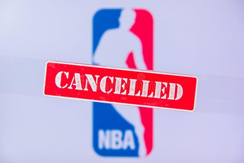 美利坚合众国纽约市,3月 16 2020:篮球联赛因冠状病毒Covid-19被取消或推迟 红 免版税库存图片