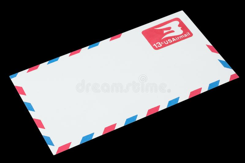 美利坚合众国-大约1968年:航空邮件的一个老信封 库存图片