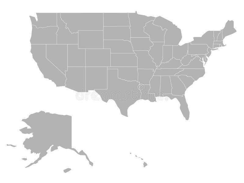 美利坚合众国-美国的空白的地图 在白色背景的被简化的深灰剪影传染媒介地图 库存例证