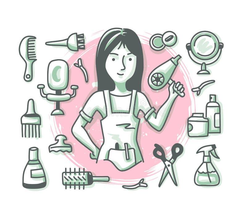 美发师乱画行业 向量例证