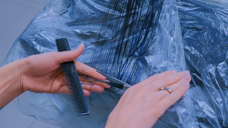 美发师妇女客户的切口头发 库存图片