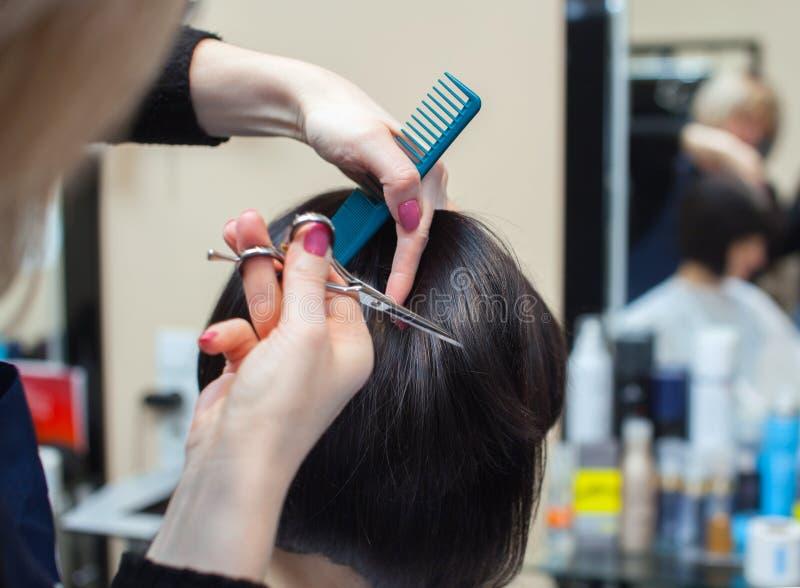 美发师烘干她的头发美容院的一个深色的女孩 库存照片图片