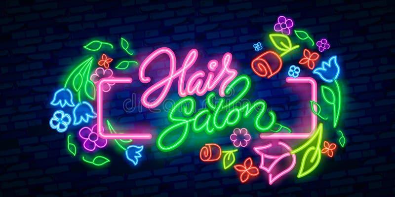 美发店霓虹灯广告 Hairdress设计模板霓虹灯广告,轻的横幅,霓虹牌,每夜的明亮的广告,光 库存例证