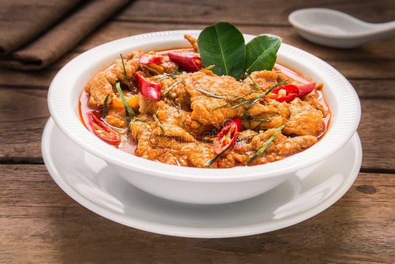 美味咖喱用猪肉(Panang),泰国食物 免版税图库摄影
