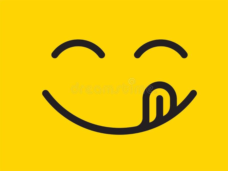 美味的微笑传染媒介动画片线意思号舌头舔嘴 吃在黄色设计backgroun的可口鲜美食物emoji面孔 向量例证