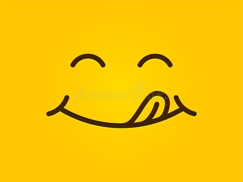 美味的微笑黄色背景,动画片线意思号舔嘴唇,可口鲜美吃emoji面孔 库存例证