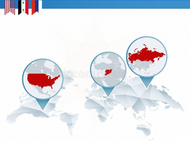 美国、叙利亚和俄罗斯冲突Infographics  皇族释放例证