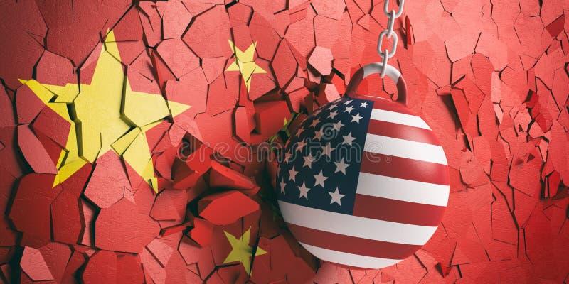 美国下垂击毁打破中国旗子墙壁的球 3d例证 皇族释放例证