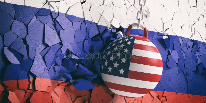 美国下垂击毁打破俄罗斯旗子墙壁的球 3d例证 库存例证