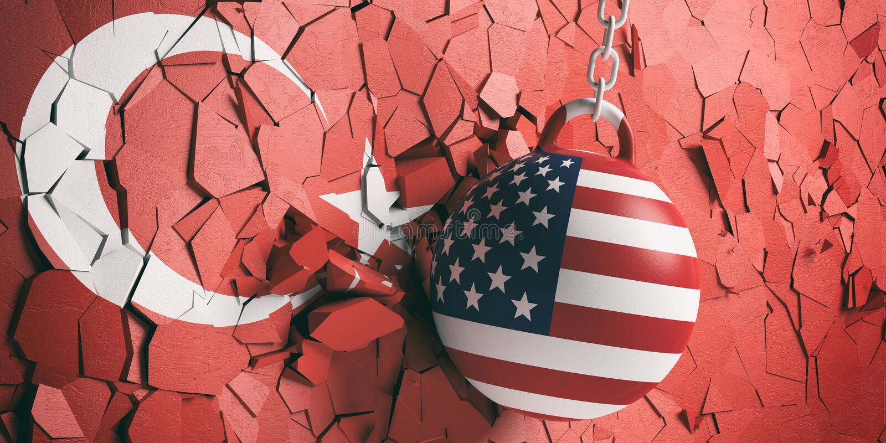 美国下垂击毁打破土耳其旗子墙壁的球 3d例证 皇族释放例证