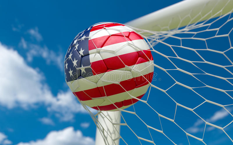 美国下垂和在目标网的足球 免版税库存照片