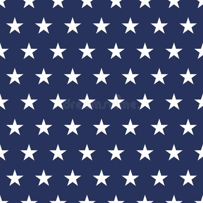 美国下垂无缝的样式 在蓝色背景的白色星 广告牌日查出的纪念白色 图库摄影
