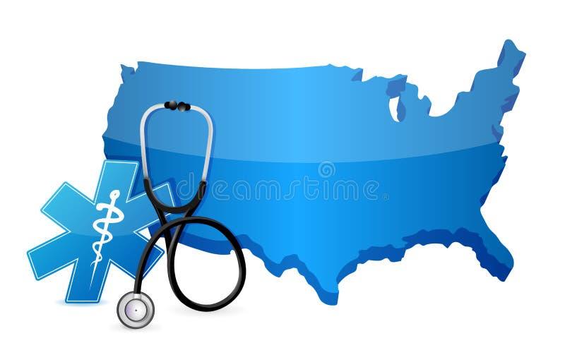 Download 美国与听诊器的医疗保健概念 库存例证. 插画 包括有 医师, 患者, 设备, 评定, 图象, 兽性, 脉冲 - 30328795
