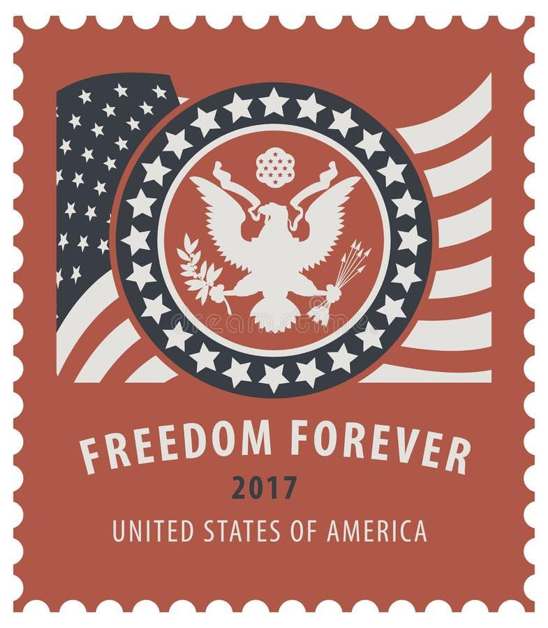 美国与老鹰和美国国旗的邮票 皇族释放例证