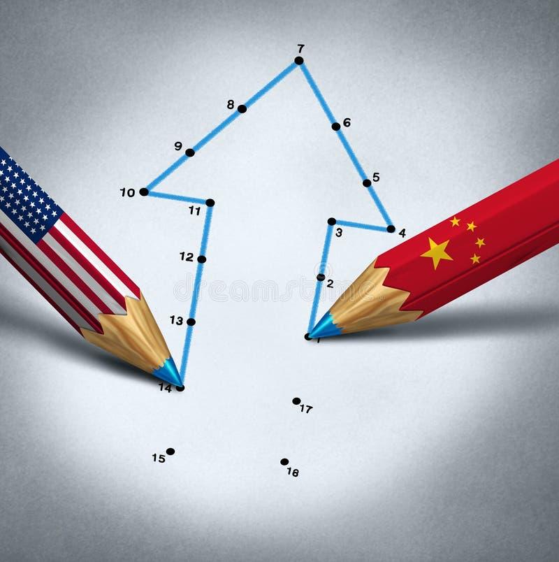 美国中国合作 皇族释放例证