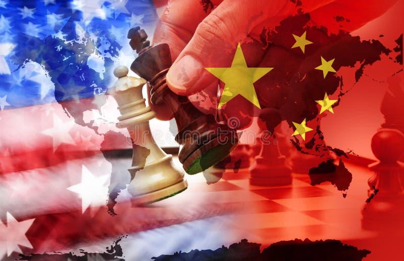 美国中国贸易战 库存照片