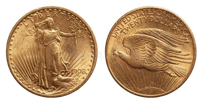 美国二十20美元金币被隔绝whtie背景 库存图片