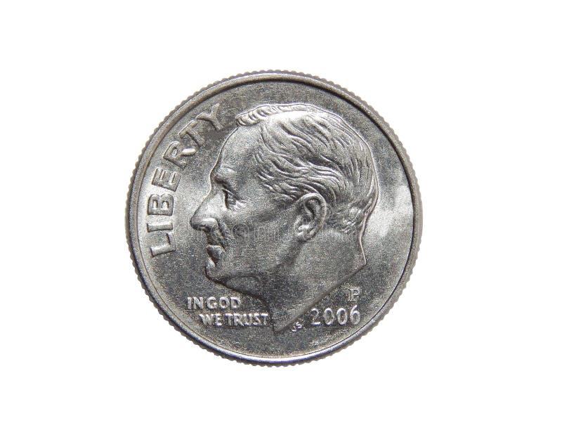 美国人一角钱硬币在白色背景隔绝的10分 免版税库存照片