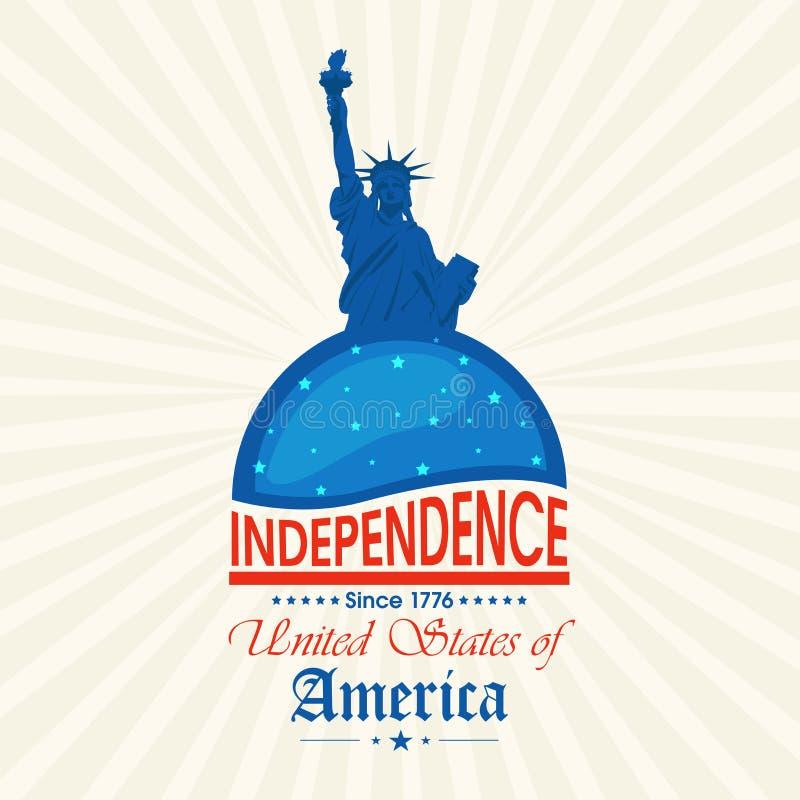 美国人与自由女神象的美国独立日庆祝 皇族释放例证
