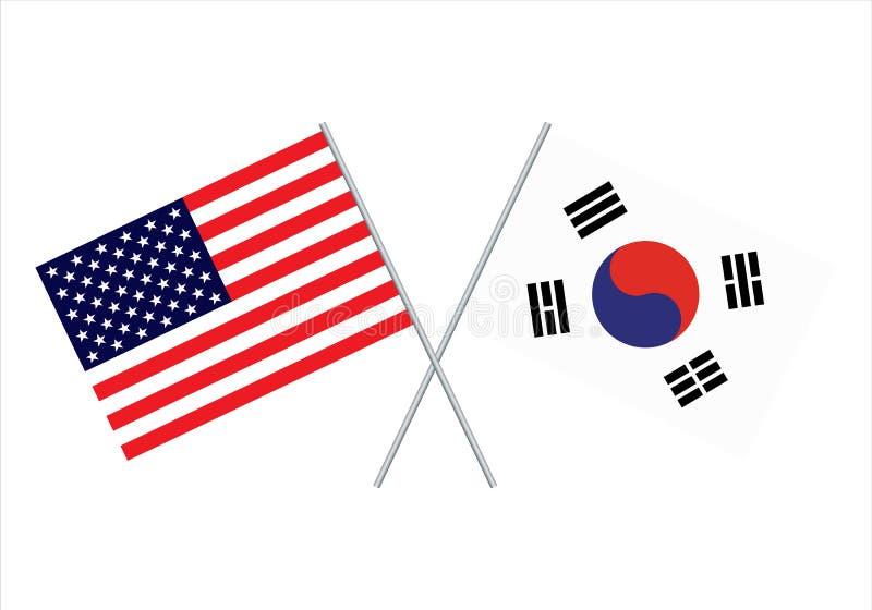 美国人和韩国旗子 美国旗子和韩国旗子传染媒介eps10 皇族释放例证