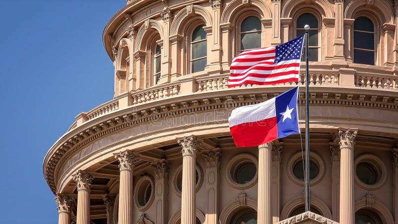 美国人和飞行在得克萨斯状态国会大厦大厦的得克萨斯旗子在奥斯汀 库存图片