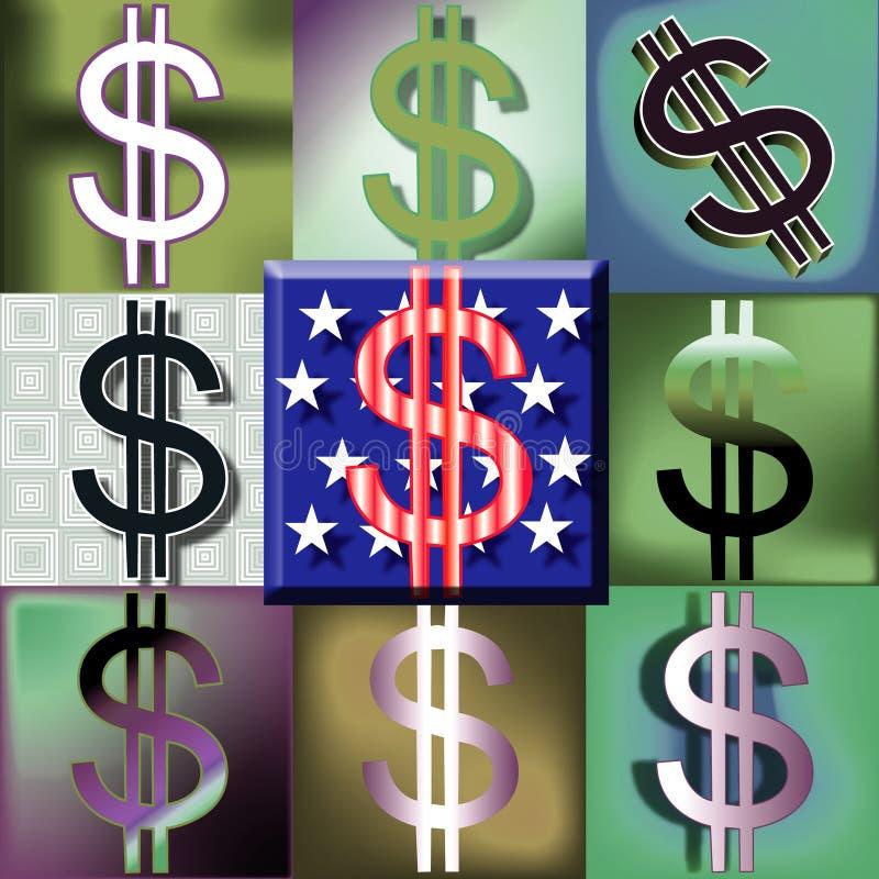 美国人回到美元绿色流行音乐符号 向量例证