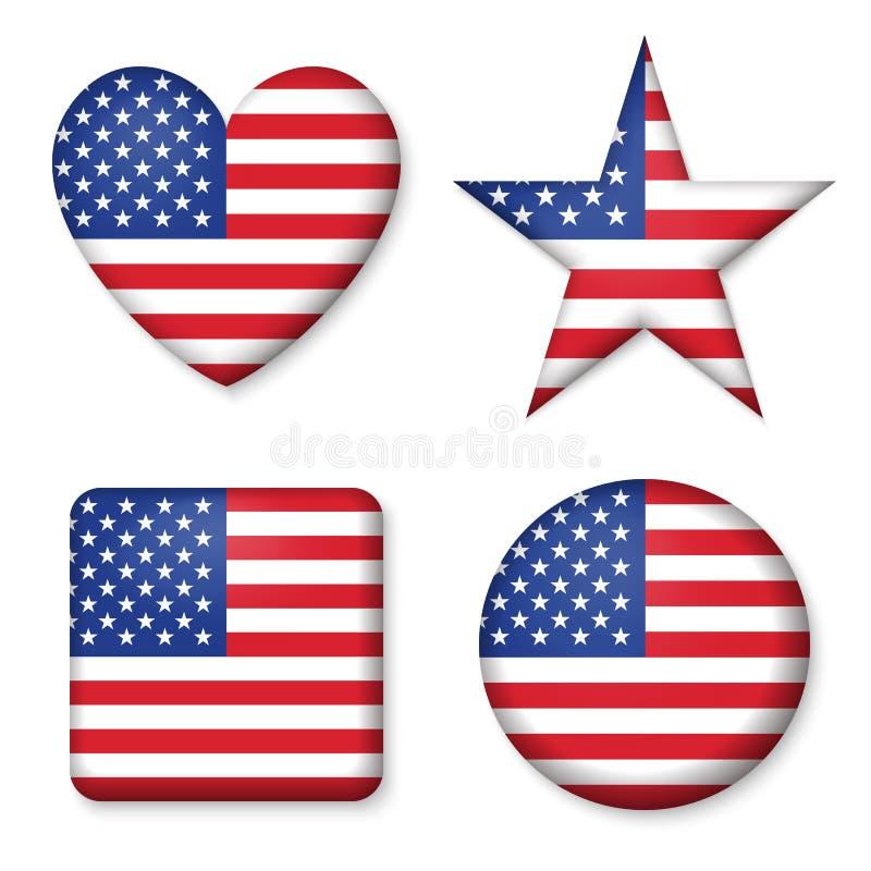 美国人在象集合光滑的形式按钮的美国旗子  皇族释放例证