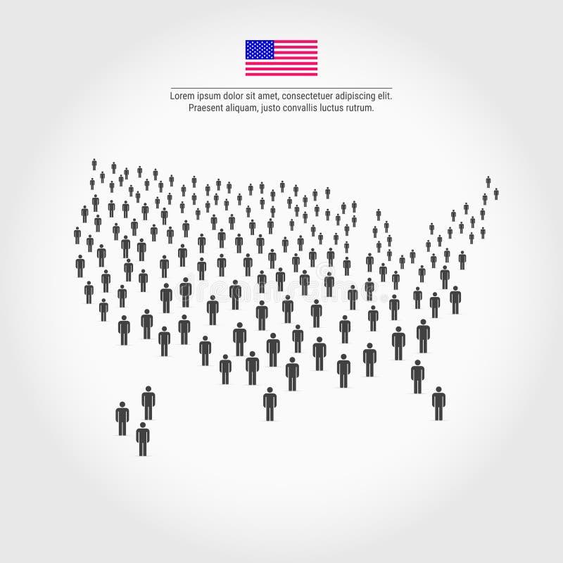 美国人地图 美国的地图组成人象人群  库存例证