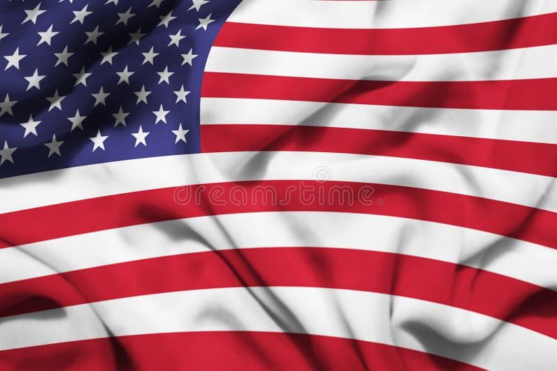 美国人的挥动的旗子 向量例证