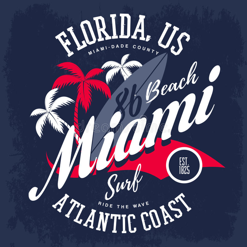 美国人的迈阿密冲浪板和棕榈树 向量例证