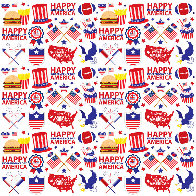 美国人7月第4,无缝的美国独立日 向量例证