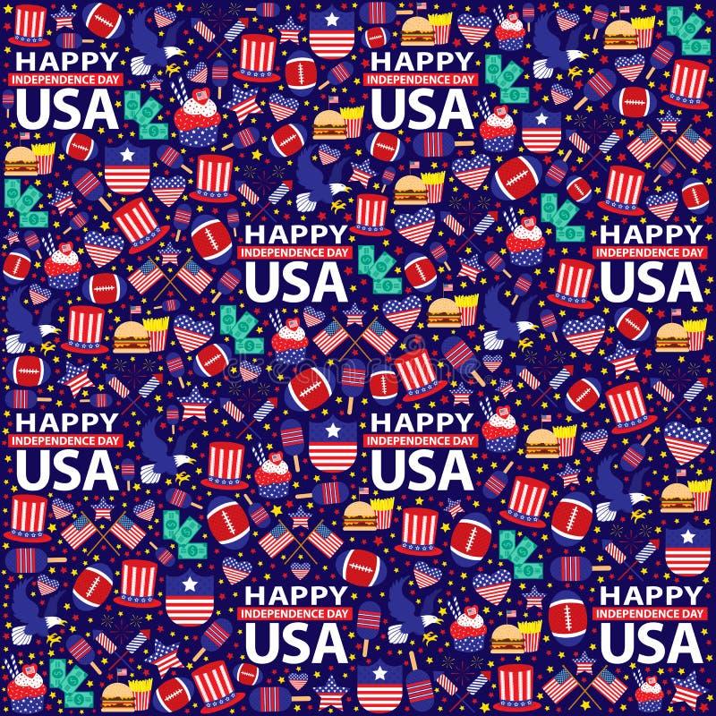 美国人7月第4,无缝的美国独立日 库存例证