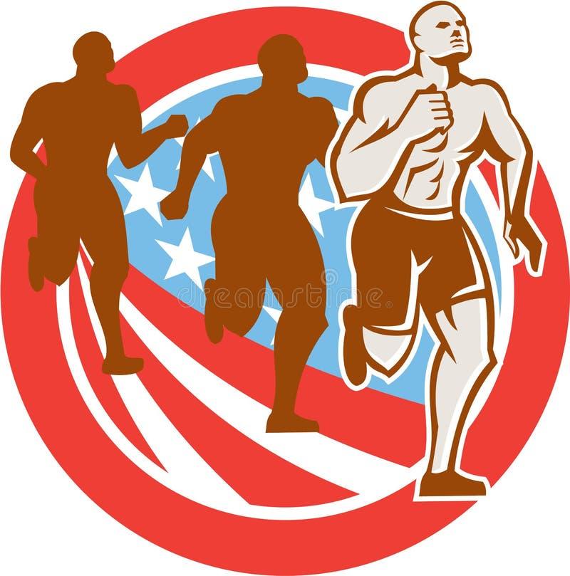 美国人Crossfit赛跑者美国减速火箭旗子的圈子 皇族释放例证