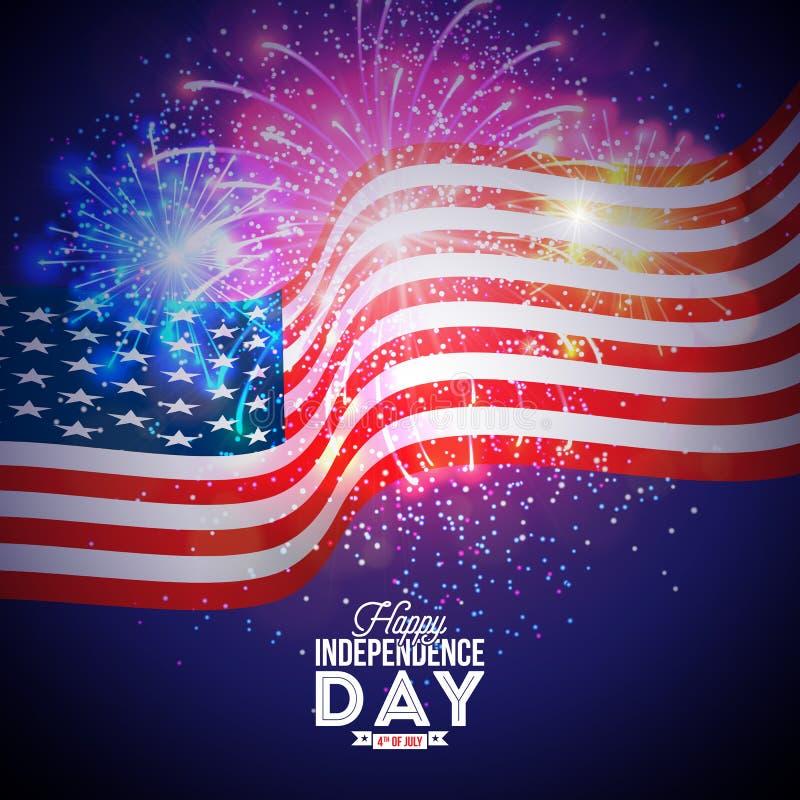美国传染媒介例证的愉快的美国独立日 与旗子和烟花的美国独立纪念日设计在蓝色背景 皇族释放例证