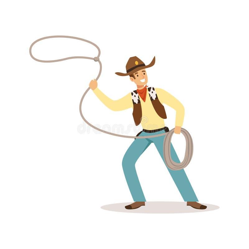 美国传统服装的人有套索西部漫画人物传染媒介例证的 库存例证
