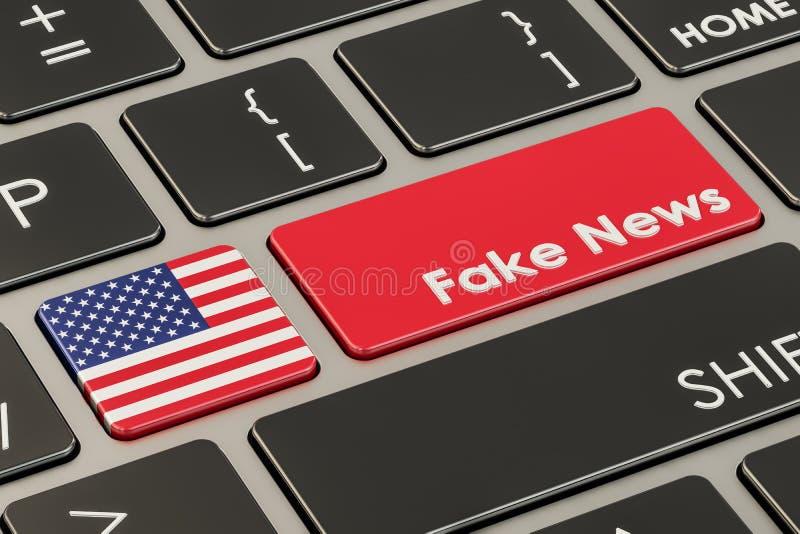 美国伪造新闻按钮,在键盘的钥匙 3d翻译 向量例证