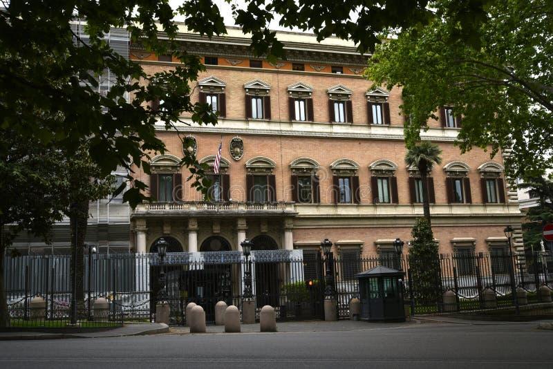 美国使馆在罗马意大利 库存照片
