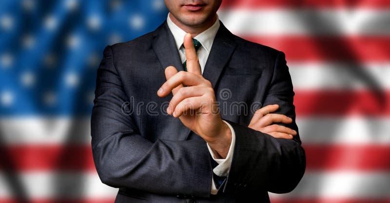 美国候选人与人人群谈话 免版税图库摄影