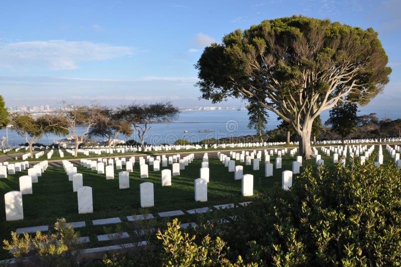 美国军事公墓在圣地亚哥,加利福尼亚 库存图片