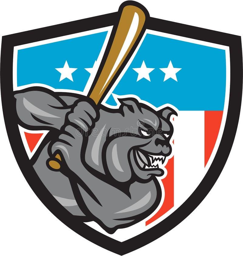 击美国冠动画片的牛头犬棒球 库存例证