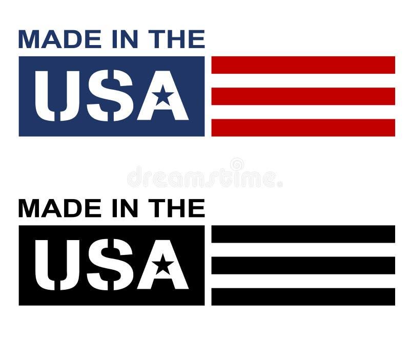 美国制造的标签徽标独立矢量图图 免版税库存照片